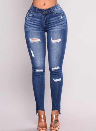 Destroyed Ripped Distressed Stretch High Waist Skinny Jeans