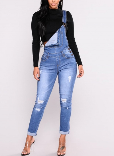 Casual Destroyed Ripped Distressed Denim Overalls Jumpsuit With Pockets