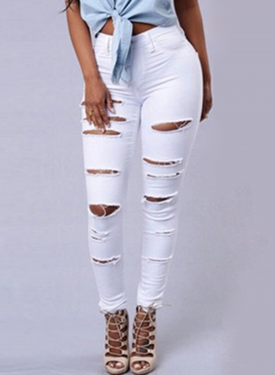 Skinny Destroyed Ripped Hole Denim Pants Stretch Pencil Jeans