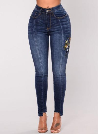 Casual Emnroidered Irregular High Waist Slim Fit Skinny Jeans