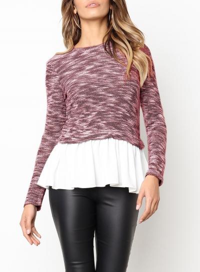 Pink Long Sleeve Contrast Colorblock Ruffle Hem Pullover Sweater